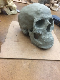 skull in plasticine